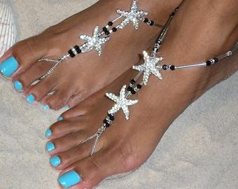 Happi Feet, starfish, swarovski crystals, barefoot sandals, wedding shoes, destination wedding shoes, beach wedding shoes, The Estelle HF104