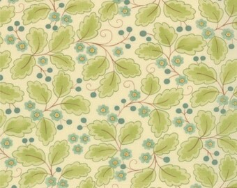 Moda Fabric Mimi Leaves Aqua- 4 yards  16094 16  SALE