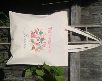 Wedding Guest Canvas Tote Bags - Wedding Welcome Bags - Bridesmaid - Flower Giril