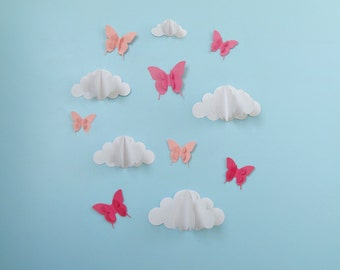 Butterflies and Clouds 3D Paper Wall Art/ Wall Decor/Wall Decals-You choose color!