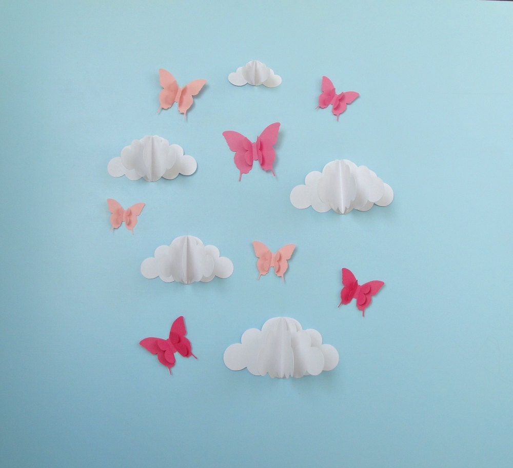 Butterflies and Clouds 3D Paper Wall Art/ Wall Decor/Wall