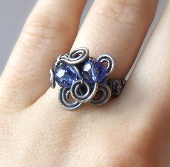 Blue ring, Swarovski ring, crystal ring, beaded freeform rustic jewelry, Size 6.5