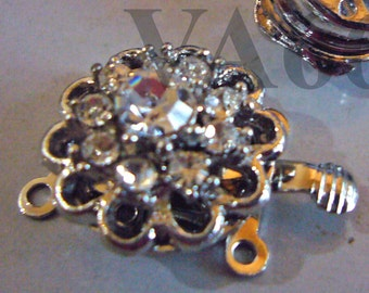 2p Rhinestone 2-strand 18K White Gold Plated Clasps Filigree Clasp Findings FL653 for Jewelry Making Supplies