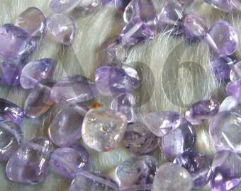 """DIY 15.5"""" Pink Purple Lavender Amethyst Ametrine Gemstone FLAT Water Drop Shape Large Chips Gemstones Gems Loose Beads Jewelry Making Craft"""