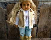 waldorf or American Girl SHERPA vest jacket in khaki  15 18 inch