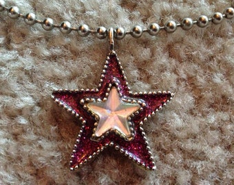 Vintage 90s pink glitter star ball chain necklace
