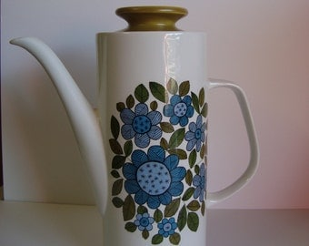 "1960s J & G Meakin Studio Coffee Pot with Blue and Green ""Crazy Daisies"""