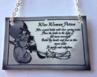Wise Woman Potion Halloween Witch Necklace