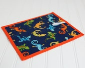 Chalkboard Mat Reusable Art Toy, Blue Orange Green Gecko Lizard Print, Travel Quiet Toy, Stocking Stuffer Gift Idea for Boys