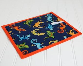 Chalkboard Mat Reusable Art Toy, Blue Orange Green Gecko Lizard Print, Travel Quiet Toy, Stocking Stuffer Gift Idea for Boys