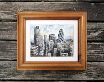 London Skyline - Framed Original Painting - Fine Wall Art - Cityscape Landscape - Home Decor