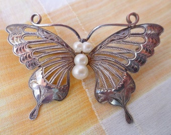 Vintage Etched Sterling Silver filigree & Genuine Pearl Butterfly Brooch Pin