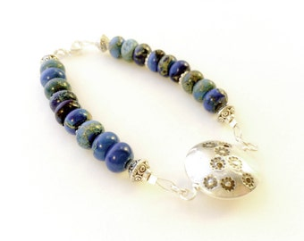 Reversable fine silver lentil bead bracelet with blue and turquios beads