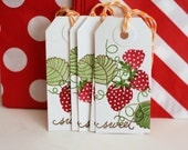 Strawberry tags, Strawberry canning tags, Strawberry gift tags, Strawberry hang tags
