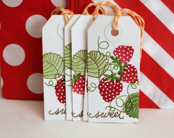 Strawberry tags, Strawberry canning tags, Strawberry gift tags, Strawberry hang tags