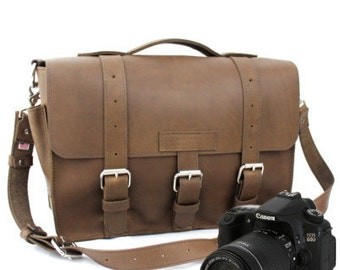 "15"" Brown Sonoma Buckhorn Leather Camera Bag - 15-BUC-BR-LCAM"
