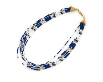 Royal Blue necklace, blue statement necklace, multistrand necklace, necklaces for women, cobalt blue, bohemian jewelry, seed bead necklace