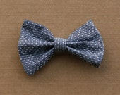 Polka dot Chambray Denim Hair Bow Barrette