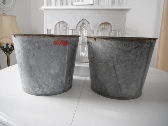 Galvanized buckets holiday decor wedding decor shabby chic Vintage sap buckets wedding buckets antique buckets French country