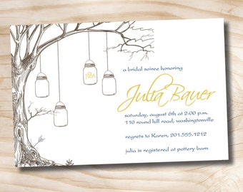 VINTAGE TREE Mason Jar Bridal Shower/ Baby Shower Invitation - Printable digital file or printed invitations