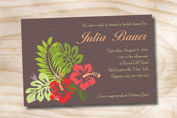 TROPICAL HIBISCUS Floral Bridal Shower Party Event Printable Invitation - Printable digital file or printed invitations