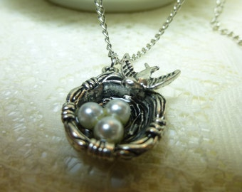 SALE Birdnest Necklace with Pearls on Antique Silver 18 inch Chain