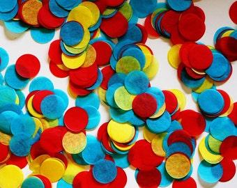 Tissue Confetti, Primary Color Confetti, Circus Confetti, Super Hero Confetti - Circle Shaped