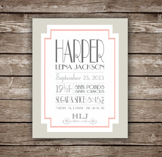 Birth Announcement - Baby Girl - Custom Printable