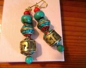 Wonderful TIBETAN Handmade Genuine TURQUOISE, Engraved Brass, Red Crackle Resin & CORAL Vintage Engraved Bead Pierced Dangle/Drop Earrings