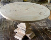 Round Dining Table Parquet Top With Handcarved Square Pedestal Table Unfinished