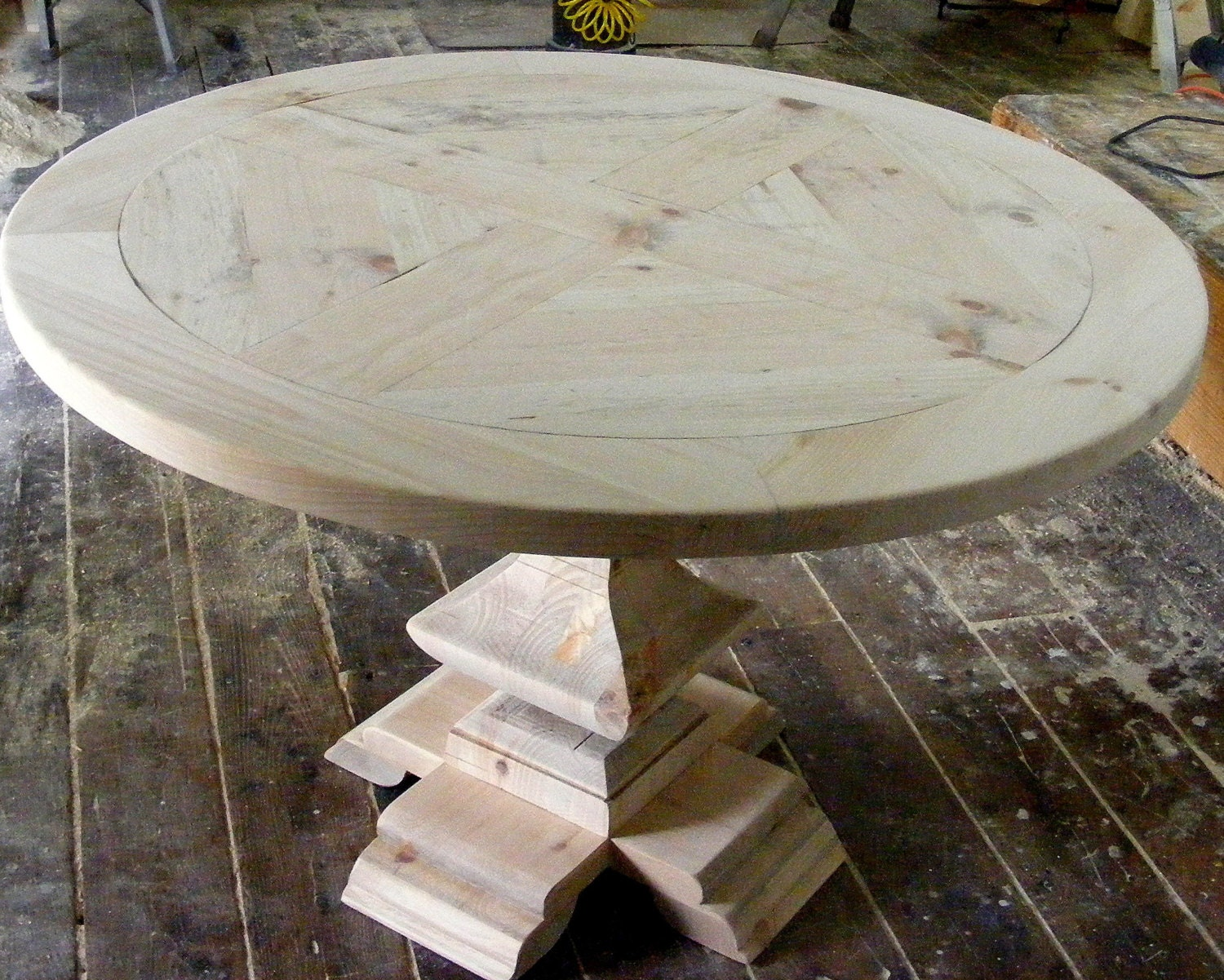 Round Dining Table Parquet Top With Handcarved Square Pedestal