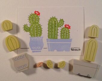 8 Piece Set Potted Cactus Stamp, garden handmade stamp, Hand carved rubber stamp. Handmade rubber stamp.