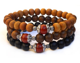 protection - set of 3 mala bracelets sandalwood, ebony, wood with genuine red jasper guru beads
