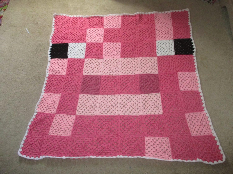 Minecraft Crochet Afghan Pattern Free : Crochet Minecraft inspired Pig afghan blanket throw