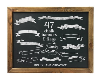 Chalk Ribbon Banners & Flags Clipart Jumbo Pack - Blog Graphics - Includes a chalkboard web tile - Instant Download