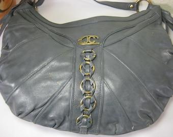 Vintage Just Cavalli Leather Hobo Shoulder Bag Italy