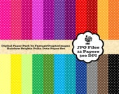 Mini Polka Dots Digital Paper Pack Rainbow Shades 22 Papers Printable Photography DIY Scrapbooking Paper Cards Backgrounds Instant Download