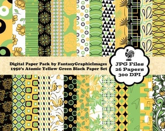 Retro 1950 Digital Paper Pack The 1950's Series Atomic Green Yellow Black 26 Papers Printable Background DIY Scrapbooking Instant Download