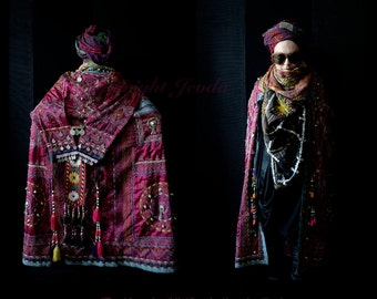 RESERVED for Yvonne , Wearable Art Cape, Ethnic Cape, Bohemian Cape, Gypsy Coat, Tribal Garment, Art To Wear Clothing, Extravagant Cape
