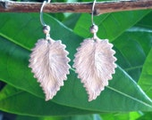CLEARANCE Silver Leaf Earrings, Dangle Earrings, Rhodium Jewelry