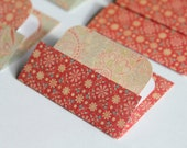 Mini Cards n Envelopes - Set of 8 - Red Flower Designs with Paisley Pattern