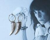 Silver tooth earrings , dangle dagger earrings , punk rock earrings , Antiqued silver hoop earrings