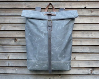 Waxed canvas rucksack / backpack with roll to close top,and double waxed canvas bottom COLLECTION UNISEX