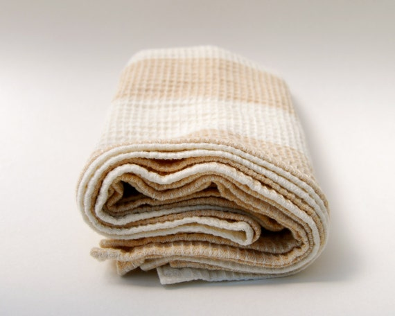 Tea Towel - Dish Cloth  - Kitchen - Set of Two - Organic Cotton Striped Beige Natural - Eco Friendly