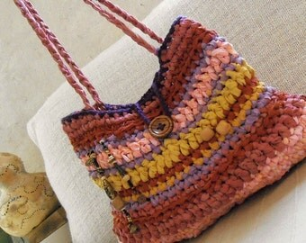 Rag bag - crochet hand bag in lovely pink, mustard and purple fabric yarns - happy up cycling tagt team