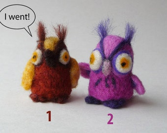 Buddies eagle-owls - needlefelted sculptures (for Julie)