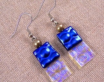 Dichroic Dangle Earrings - Cobalt Teal Blue with Clear  - Reverse Radium Bubbles Fused Glass- Surgical Steel French Wire or Clip On