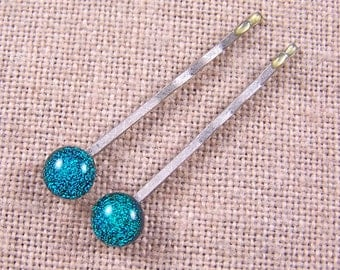 """Bobby Pins Pair of Two - Dichroic Fused Glass on Silver Steel Pins - Green Teal Jade 1/4"""" 6mm (Set of 2)"""