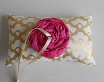 Modern Ring Bearer Pillow Metallic Gold with Colorful Rosette - Gold Wedding Accessory