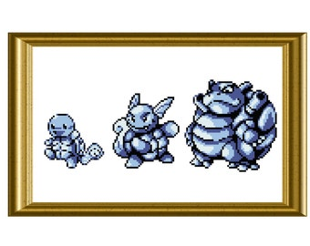 Squirtle Evolution Pokemon Counted Cross Stitch Pattern PDF Gameboy Sprite